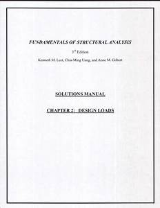 Fundamentals Of Structural Analysis  Solutions Manual