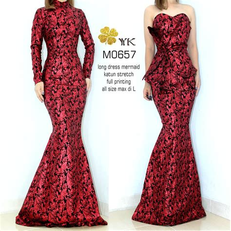 jual dress batik duyung merah maroon premium longdress