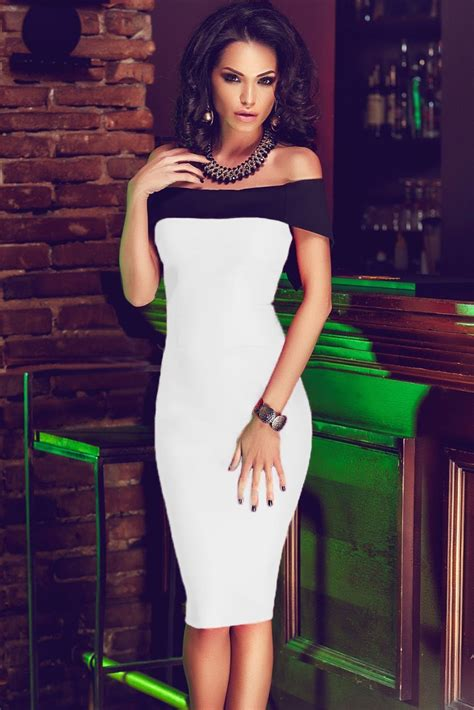 Women Off The Shoulder Mini White Bodycon Dress Online