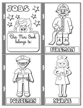 jobs  occupations colouring mini book  pages mini