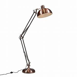 Retro angled floor lamp copper for Giant retro floor lamp the range