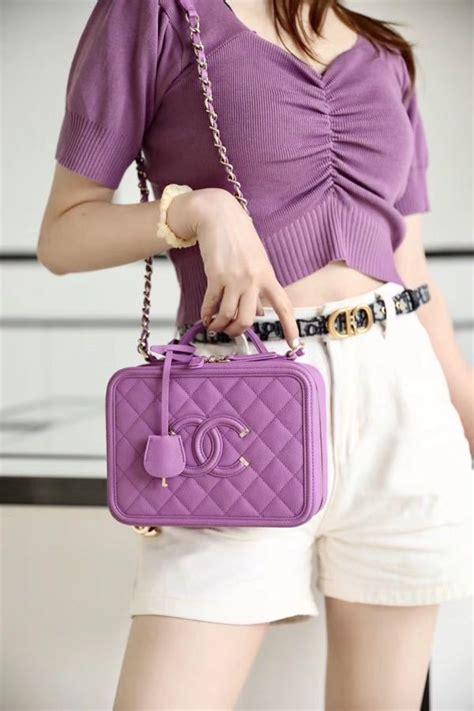 chanel vanity case bag cm caviar leather gold hardware springsummer  collection purple
