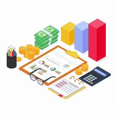 Analysis Financial Equipment Report Isometric Chart Document