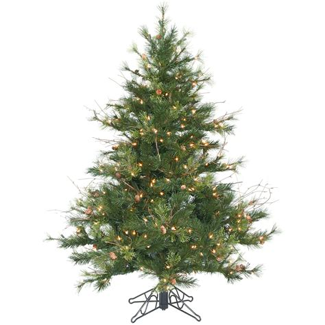 4 5 foot mixed country pine christmas tree all lit lights