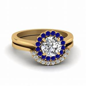 round cut floral halo diamond wedding ring set with blue With floral wedding ring set