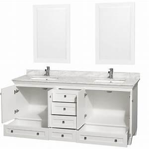Acclaim 72quot White Bathroom Vanity Set Four Functional