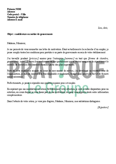 lettre de motivation pour femme de chambre application letter sle modele de lettre de motivation