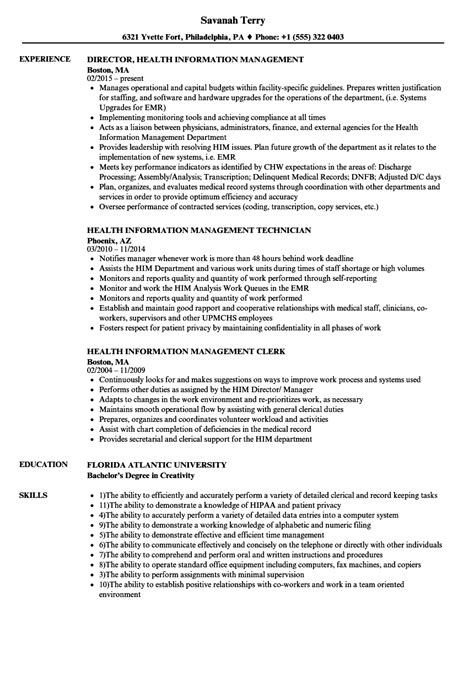 health information management resume sles velvet