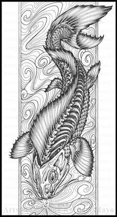 Barebone fish zentangle | Coloring Books | Pinterest