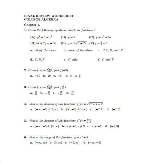 10 college algebra worksheet templates free word pdf
