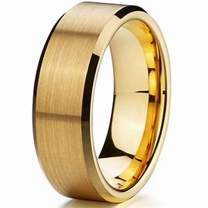 cheap classic gold ion plating tungsten mens wedding ring With cheap male wedding rings