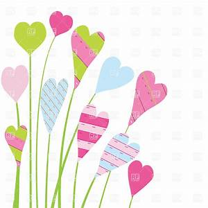 Colorful heart-shaped flowers over white background ...