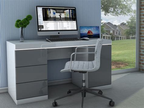 bureau om bureau loic ii leds 1 porte 3 tiroirs blanc gris