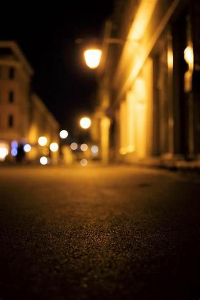 Night Street Empty Lights Bokeh Photohdx Metro