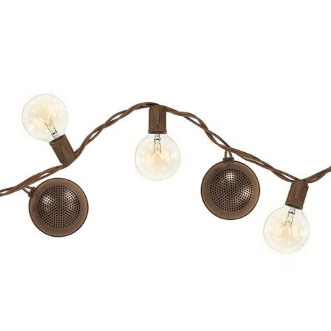 bright tunes patio string lights with built in bluetooth speakers bright tunes 12 light 16 ft outdoor string light with