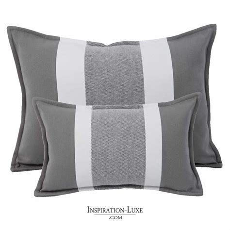 coussin rectangulaire de luxe raye gris  blanc