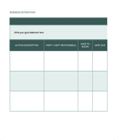 sample business action plan templates   ms word