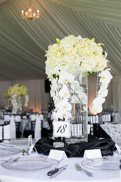 tall white orchid  hydrangea centerpiece