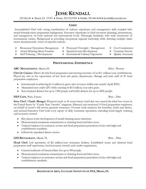 Functional Resume Line Cook by Esempio Cv Inglese Chef Cv Inglese