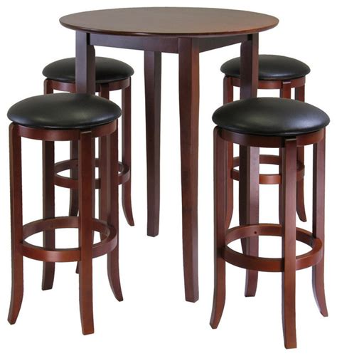 winsome wood fiona 5 high pub table set w pvc