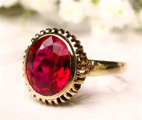 vintage ruby engagement ring 10k yellow gold filigree 1 86ct