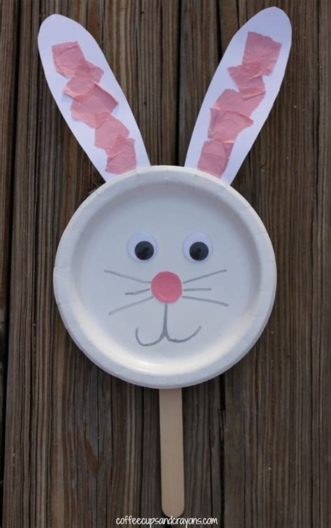 paper plate bunny puppet    fun  easy