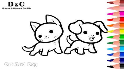 colouring pages cat dog coloring animals learning