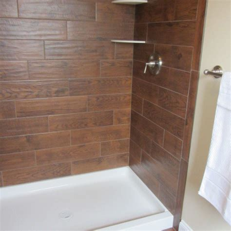 wood tile shower wood tile bathroom contemporary bathroom