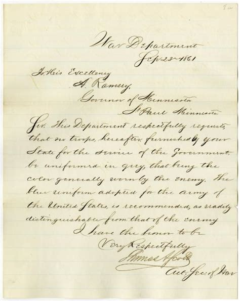 letter from acting secretary of war requesting that troops