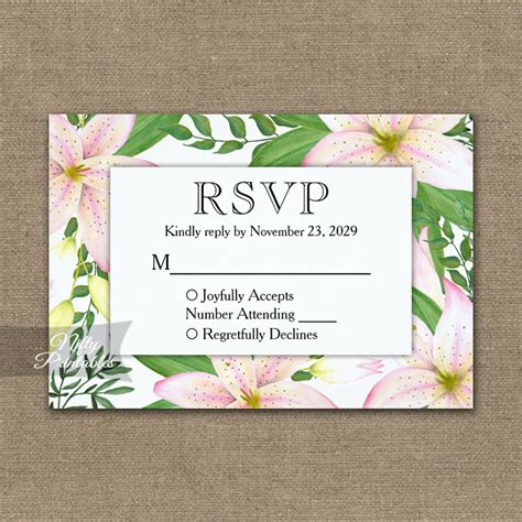 Pink Lilies RSVP Card Wedding Response PRINTED Nifty
