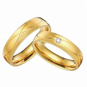 1 pair 18k gold plated custom alliance titanium wedding With gold wedding rings for him and her