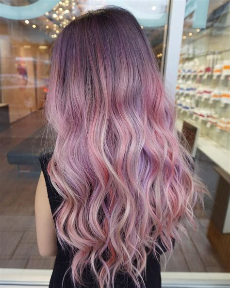 Ombre Purple Hair Color Long Hairstyle Curly Pastel