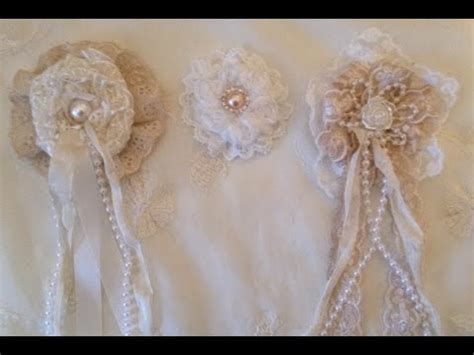 how to make shabby chic flowers out of fabric how to make a shabby chic lace rosette flower woc design team project youtube