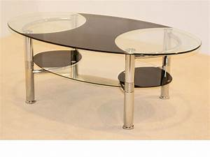 large oval black clear glass coffee table with shelf With large oval glass coffee table