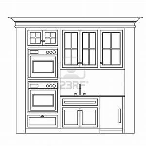 Kitchen cabinet design drawing kitchen elevation line for Kitchen cabinets lowes with wall art sketches
