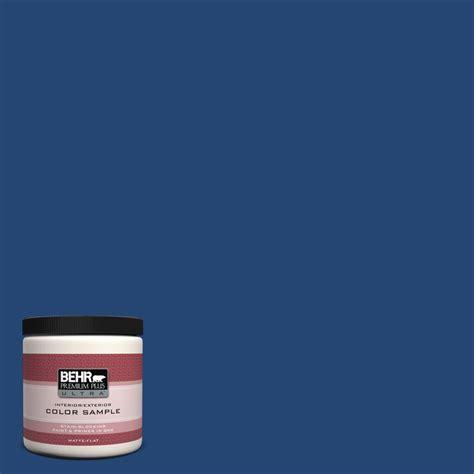 behr premium plus ultra 8 oz s h 580 navy blue matte interior exterior paint and primer in one