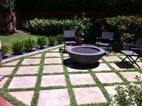 outdoor pit with concrete grass pavers modern
