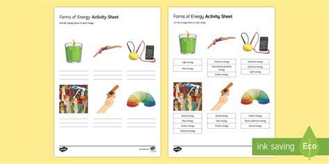 forms of energy worksheet activity sheet energy energy