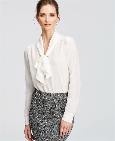 bow neck blouse h m womens ivory white ruffle tie juliet blouse nwot