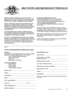 towing reimbursement fax documents fill