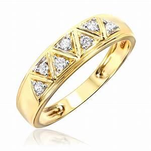 1 2 carat diamond trio wedding ring set 10k yellow gold With 2 carat diamond wedding ring sets