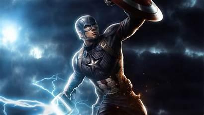 Captain Endgame Avengers 4k America Mjolnir Wallpapers