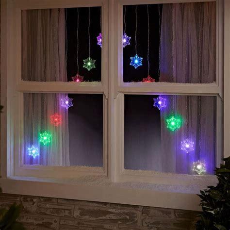 christmas net window lights 15 led colour changing snowflake v window