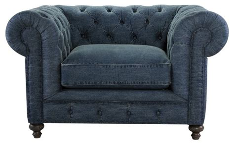 Curations Cigar Club Chair, Denim