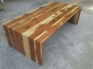 Custom cedar waterfall coffee table by tpt cal for Cedar wood coffee table