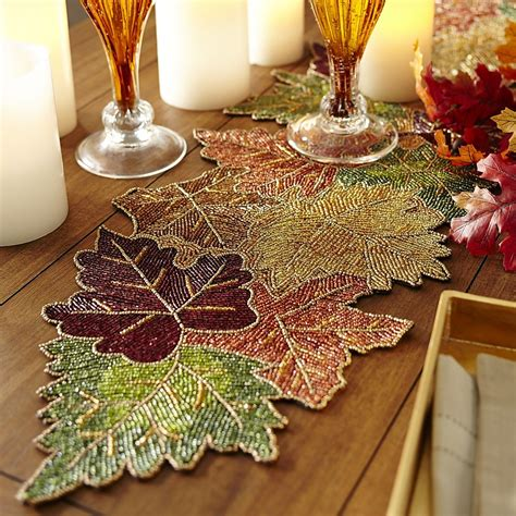 beaded leaves table runner pier  imports crafts