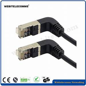 China Cat6a Jumper Cable 90 Degree Angled Network Patch