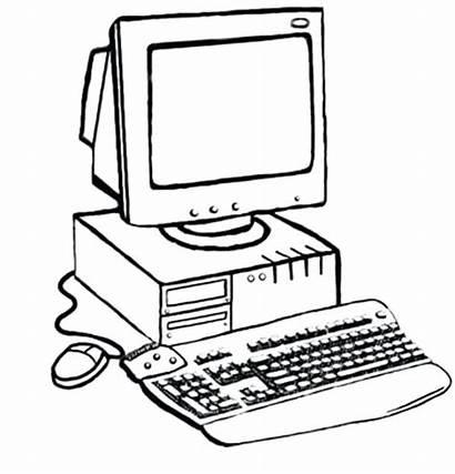 Computer Coloring Pages Laptop Parts Drawing Desktop