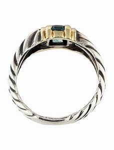 David Yurman Two Tone Topaz Double Cable Ring Rings