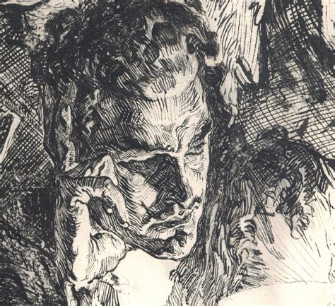 joseph clement coll close    ink illustration